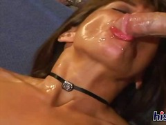 brunette, cumshot, facial, fishnet