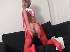 strip, boots, mature, masturbation,