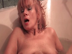 big, mature, bathtub, masturbation