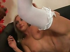 Hot busty blonde babe interracial gangbang