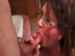 glasses, mom, sucking, blowjob,