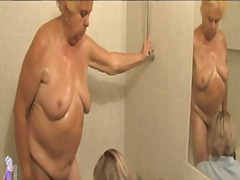 granny, shower, fingering, hairy