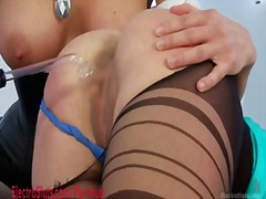 Hot lesbian milf gets electrofucked