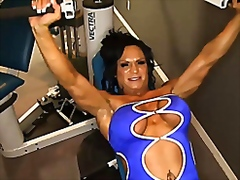 Female bodybuilder works up a sweat a...