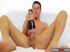 Gay guy masturbates in...