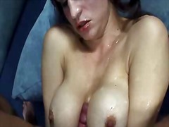 big, brunette, shemale, cumshot, boobs