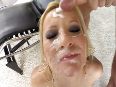 Blonde bitch slut with tons of sperm on her face