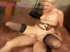Blonde slut with bangi...