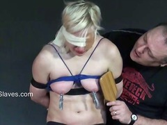 Blindfolded blonde babes tit torture and whipping