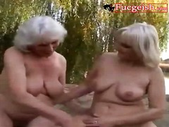 mature, blonde, lesbos, lesbian, outdoors, fingering