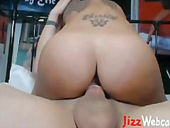 Tattooed pornstar raven bay rides hard dick