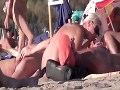 French Naturist Woman Strokes Cocks O...