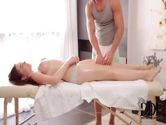 Big natural breasts in erotic massage video