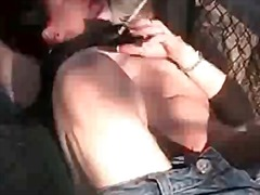 Brunette smokes and masturbates outdoors