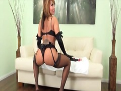 Alpha Porno Movie:Gloves and black lingerie on g...