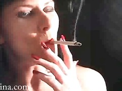Brunette babe is sexy in smoking porn