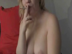 Chubby blonde smokes after a facial