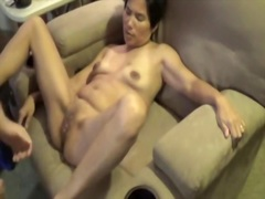 Mature wife having sex on couch