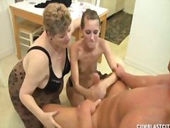 threesome, masturbation, handjob, milf