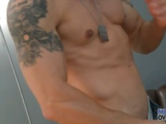 Alpha Porno Movie:Gorgeous shaved guy strips and...