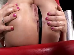 Simony diamond strips and plays with her muff pie