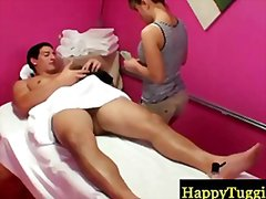 Redtube Movie:Asian milf tugging a cock at m...