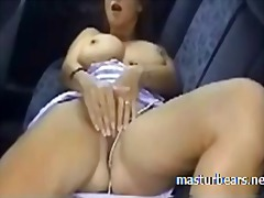 masturbation, bigtits, car, orgasm,