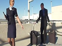 Thumb: Stewardess give footjobs