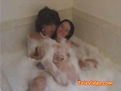 Teen baby sitter bathes with grandma