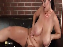 Oiled up mature with c...