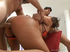 Sexy gianna lynn is spit roasted...