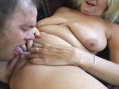 handjob, big boobs, granny, blonde,