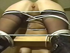 Big tits hottie bound and bent-over for her master
