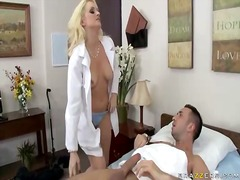 Blonde doctor wearing stockings fucking a patient