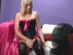Horny blonde in thigh ...