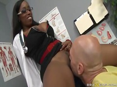Hot black doctor gets her butt drilled by a big cock