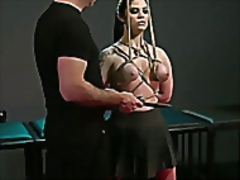 Vporn Movie:Tied up babe in rope bent over...