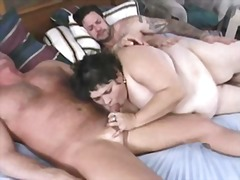 threesome, mature, vintage, blowjob,