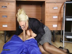 Office milf lana cox wanks off her handyman's big hard jizz tool