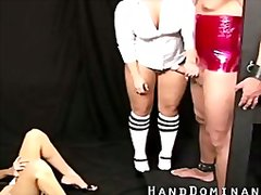 Redtube Movie:Wrapped up guy get femdom handjob