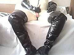 shemale, masturbation, latex,