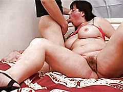 Plump mom with saggy boobs, hairy cunt & guy