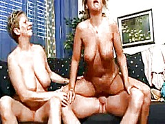 granny, threesome, cumshot, blowjob