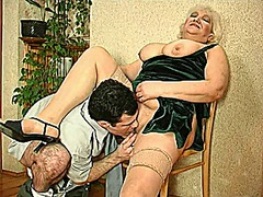 Big tit granny gets a load... - 11:05