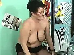 German granny with big boobs fucked b...