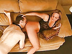 Ass licking femdom on the couch.