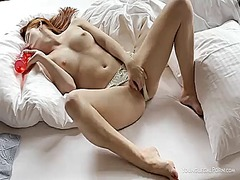 masturbation, shaved, redhead, toy
