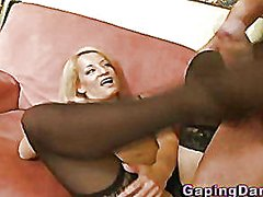 Thumb: Babe gives footjob in ...