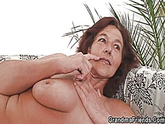 Naughty granny swallow... video