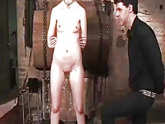Kristine has chained, blindfolded and mouth-fucked inside masochism action
